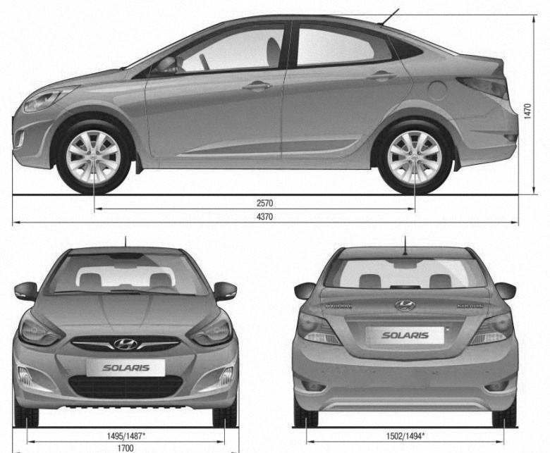 Габаритные размеры автомобиля с кузовом седан Hyundai Solaris