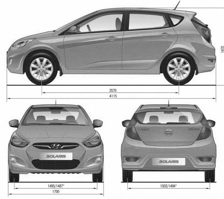Габаритные размеры автомобиля с кузовом хэтчбек Hyundai Solaris