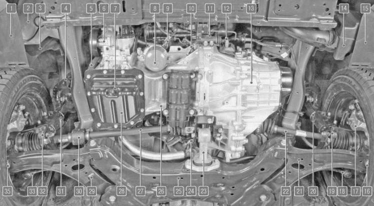Расположение узлов и агрегатов автомобиля Hyundai Solaris с двигателем 1,4 л