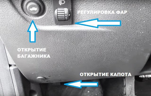 Кнопки открытия багажника и капота.Регулировка фар