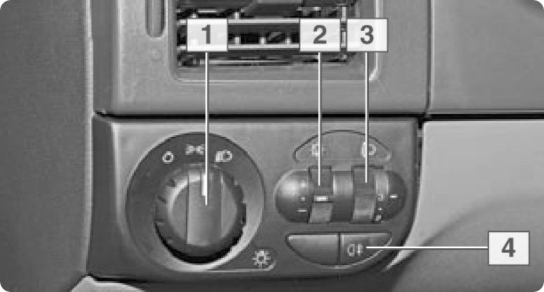 Блок управления наружным освещением, подсветкой приборов и направлением пучков света фар Lada Priora